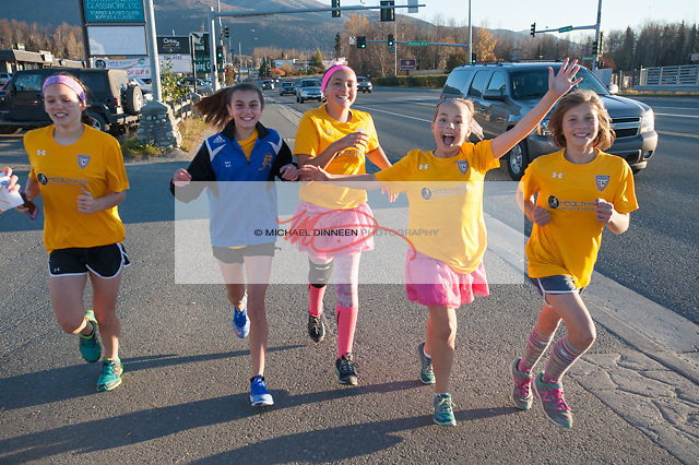 Chugiak Soccer Club members head out on the course in Eagle River Thursday, Oct. 6, 2016.  Photo by Michael Dinneen