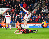 Peter Crouch of Stoke City gets a shot on goal despite the attention of Simon Francis of AFC Bournemouth during AFC Bournemouth vs Stoke City, Premier League Football at the Vitality Stadium on 3rd February 2018