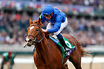 Line Of Duty #5, ridden by William Buick, wins the Juvenile Turf on Breeders' Cup World Championship Friday at Churchill Downs on November 2, 2018 in Louisville, Kentucky. Kaz Ishida/Eclipse Sportswire/CSM