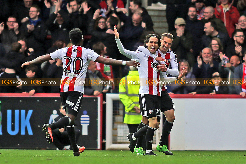 Jota (No 23) celebrates scoring Brentford's fourth goal and his second goal of the match during Brentford vs Derby County, Sky Bet EFL Championship Football at Griffin Park on 14th April 2017