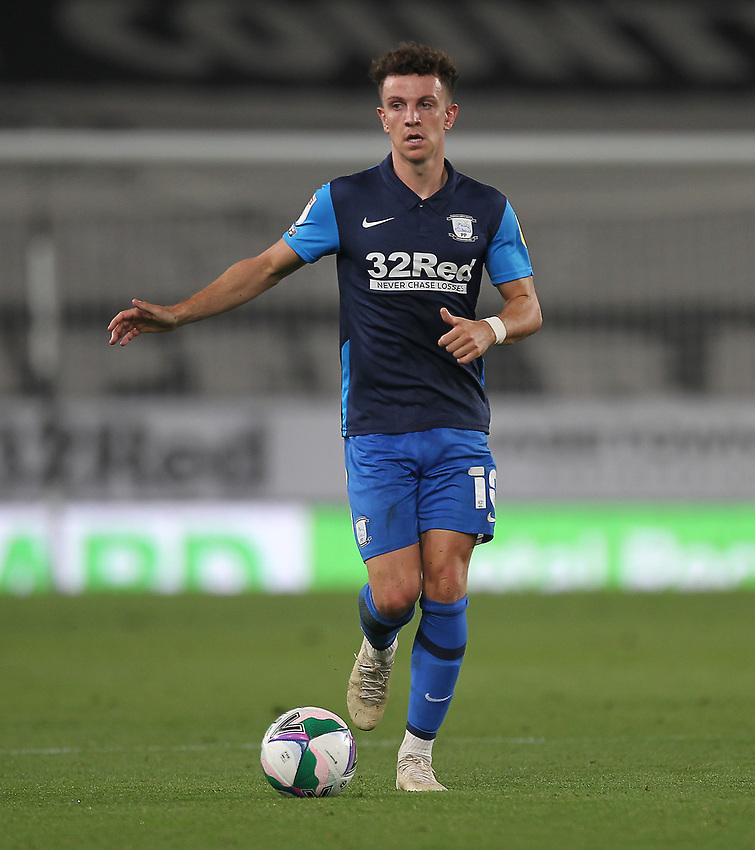 Preston North End's Josh Harrop<br /> <br /> Photographer Mick Walker/CameraSport<br /> <br /> Carabao Cup Second Round Northern Section - Derby County v Preston North End - Tuesday 15th September 2020 - Pride Park Stadium - Derby<br />  <br /> World Copyright © 2020 CameraSport. All rights reserved. 43 Linden Ave. Countesthorpe. Leicester. England. LE8 5PG - Tel: +44 (0) 116 277 4147 - admin@camerasport.com - www.camerasport.com