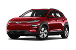 Stock pictures of low aggressive front three quarter view of a 2019 Hyundai Kona EV Sky 5 Door SUV