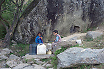 Children getting water at a well in the hills above the town of Kullu in the Kullu Valley, Himachal Pradesh, India.