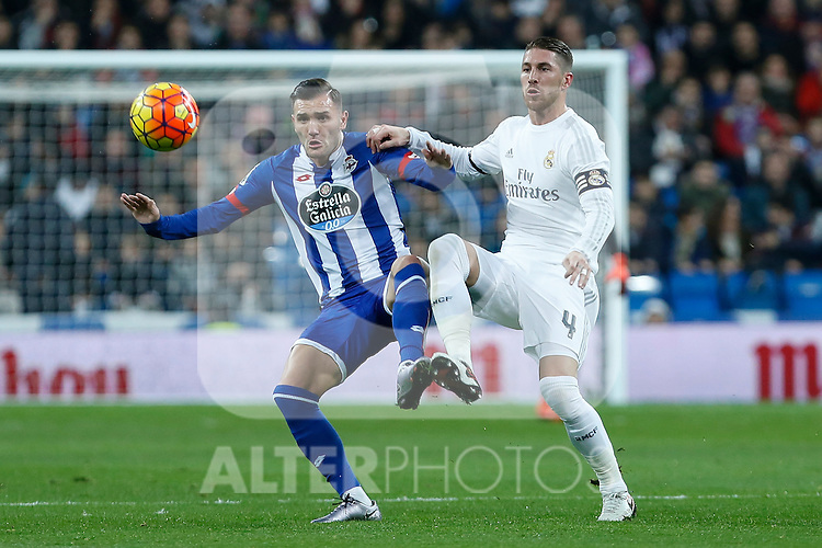 Real Madrid´s Sergio Ramos and Deportivo de la Coruna´s Lucas Perez during 2015/16 La Liga match between Real Madrid and Deportivo de la Coruna at Santiago Bernabeu stadium in Madrid, Spain. January 09, 2015. (ALTERPHOTOS/Victor Blanco)