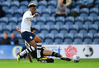 Preston North End's Callum Robinson is tackled by Reading's Tiago Ilori<br /> <br /> Photographer Chris Vaughan/CameraSport<br /> <br /> The EFL Sky Bet Championship - Preston North End v Reading - Saturday 15th September 2018 - Deepdale - Preston<br /> <br /> World Copyright &copy; 2018 CameraSport. All rights reserved. 43 Linden Ave. Countesthorpe. Leicester. England. LE8 5PG - Tel: +44 (0) 116 277 4147 - admin@camerasport.com - www.camerasport.com