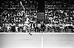 Billie Jean King, eyes on the ball in a tennis match at the Nassau Veterans Memorial Coliseum in Uniondale,NY. Photo by Jim Peppler. Copyright/Jim Peppler/.