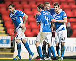 St Johnstone v Hamilton Accies&hellip;28.01.17     SPFL    McDiarmid Park<br />Graham Cummins celebrates his second goal with Brian Easton and Blair Alston<br />Picture by Graeme Hart.<br />Copyright Perthshire Picture Agency<br />Tel: 01738 623350  Mobile: 07990 594431