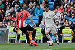 Real Madrid's Brahim Diaz and Athletic Club de Bilbao's Inigo Martinez during La Liga match between Real Madrid and Athletic Club de Bilbao at Santiago Bernabeu Stadium in Madrid, Spain. April 21, 2019. (ALTERPHOTOS/A. Perez Meca)