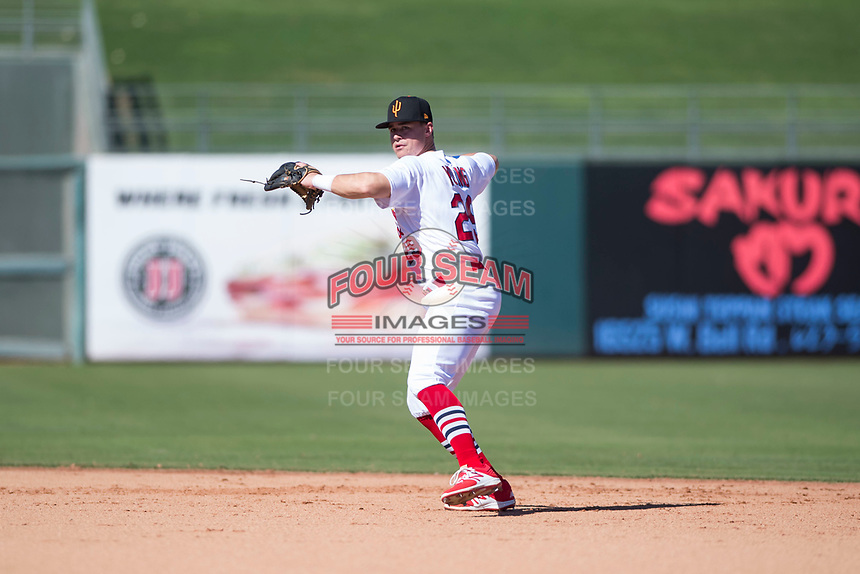 Surprise Saguaros second baseman Andy Young (29), of the St. Louis Cardinals organization, throws to first base during an Arizona Fall League game against the Salt River Rafters on October 9, 2018 at Surprise Stadium in Surprise, Arizona. Salt River defeated Surprise 10-8. (Zachary Lucy/Four Seam Images)