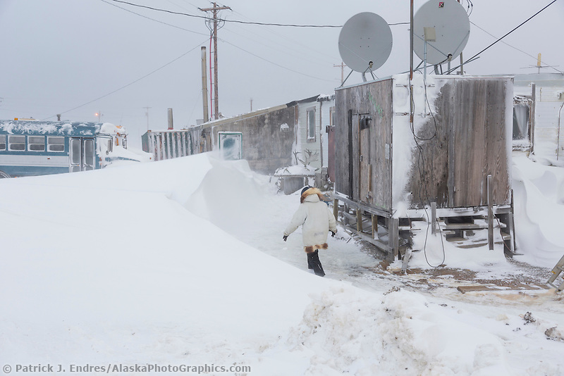 Blowing snow drifts in Kaktovik, Alaska.