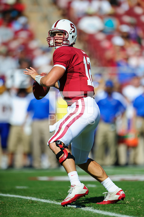 STANFORD, CA - September 3, 2011:  Stanford's Andrew Luck during Stanford's season opener against San Jose State.   The Cardinal defeated the Spartans, 57-3.