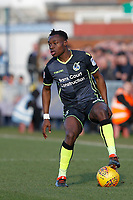 Marc Bola of Bristol Rovers (on loan from Arsenal) during the Sky Bet League 1 match between AFC Wimbledon and Bristol Rovers at the Cherry Red Records Stadium, Kingston, England on 17 February 2018. Photo by Carlton Myrie.