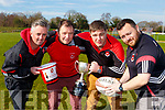 Liam Murphy acting as scrum half at the launch of the Killarney rugby club Split the Bucket in Killarney Rugby club on Tuesday with l-r: Tony Dunne, Eamonn Maguire and Ger Moynihan