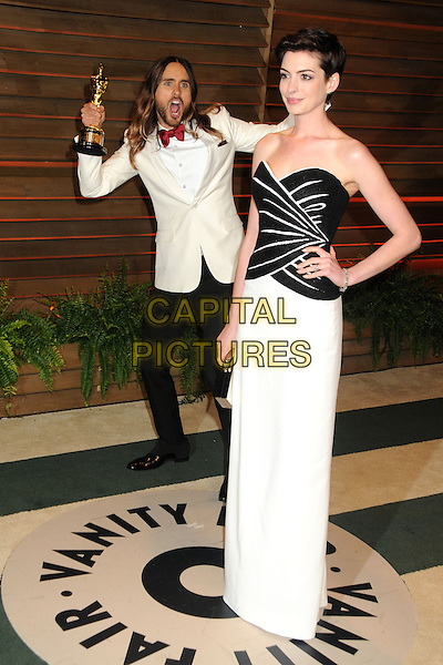 02 March 2014 - West Hollywood, California - Jared Leto, Anne Hathaway. 2014 Vanity Fair Oscar Party following the 86th Academy Awards held at Sunset Plaza.  <br /> CAP/ADM/BP<br /> &copy;Byron Purvis/AdMedia/Capital Pictures