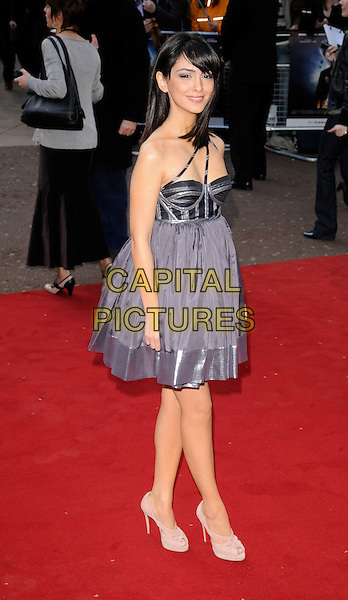 "NAZANIN BONIADI.UK Premiere of ""Iron Man"" at the Odeon, Leicester Square, London, England..April 24th 2008.full length bondiani purple dress silver grey gray pink beige shoes heels one shoulder .CAP/CAN.©Can Nguyen/Capital Pictures."