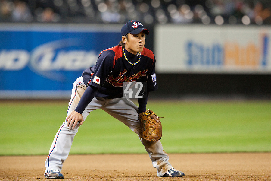 18 March 2009: #7 Yasuyuki Kataoka of Japan is seen on defense during the 2009 World Baseball Classic Pool 1 game 5 at Petco Park in San Diego, California, USA. Japan wins 5-0 over Cuba.