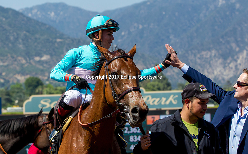 ARCADIA, CA. MAY 27: #6 Lady Eli ridden by Irad Ortiz, Jr, receives congratulations after winning the Gamely Stakes (Grade l)(Photo by Casey Phillips/Eclipse Sportswire/Getty Images