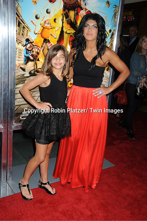 """Teresa Guidice and daughter Gia attends a special screening of """" The Pirates! Band of Misfits"""" on April 22, 2012 at The AMC Empire Theatre in New York City. Hugh Grant is the star of the movie."""