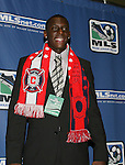 12 January 2007: Bakary Soumare (center) was selected by the Chicago Fire with the #2 overall pick. The 2007 MLS SuperDraft was held in the Indianapolis Convention Center in Indianapolis, Indiana during the National Soccer Coaches Association of America's annual convention.