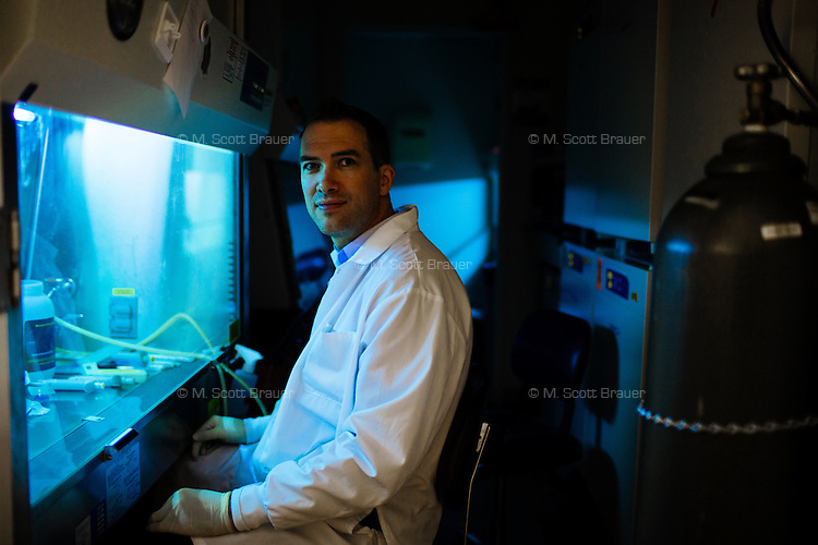 Jeroen Saeij is the Robert A. Swanson Career Development Associate Professor of Life Sciences in MIT's Department of Biology, seen here in his lab on the campus of MIT in Cambridge, Massachusetts, USA. Saeij's research looks at the Toxoplasma parasite and why some strains of it cause disease while others don't.