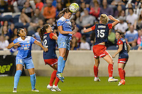 Chicago, IL - Saturday Sept. 24, 2016: Samantha Johnson, Katie Stengel, Taylor Comeau, Joanna Lohman during a regular season National Women's Soccer League (NWSL) match between the Chicago Red Stars and the Washington Spirit at Toyota Park.