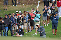Tiger Woods (USA) chips into the trap on 18 during day 4 of the WGC Dell Match Play, at the Austin Country Club, Austin, Texas, USA. 3/30/2019.<br /> Picture: Golffile | Ken Murray<br /> <br /> <br /> All photo usage must carry mandatory copyright credit (© Golffile | Ken Murray)