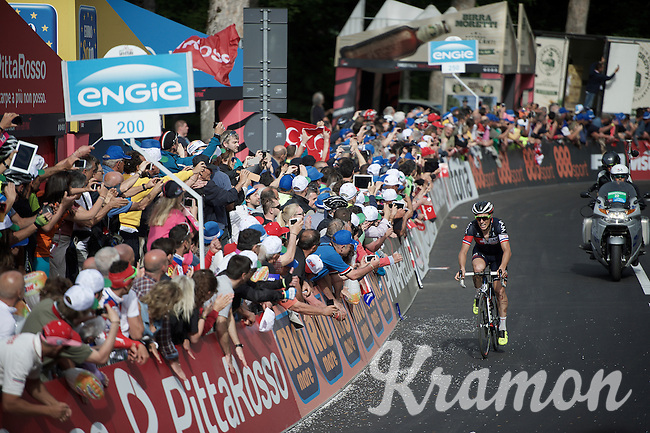 Sylvain Chavanel (FRA/IAM) comes in 2nd at the top (with 200m to go) of the Abetone climb (1386m)<br /> <br /> 2015 Giro<br /> stage 5: La Spezia - Abetone (152km)
