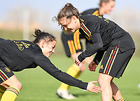 20190226 - LARNACA , CYPRUS :  Belgian Lola Wajnblum (left) pictured with Belgian Davina Philtjens (r) during a Matchday -1 training from The Belgian Red Flames prior to their game against the women team of Slovakia , on Tuesday 26 February 2019 at the Alpha Sports Grounds in Larnaca , Cyprus . This will be the first game in group C for Belgium during the Cyprus Womens Cup 2019 , a prestigious women soccer tournament as a preparation on the European Championship 2021 qualification duels. PHOTO SPORTPIX.BE | DAVID CATRY