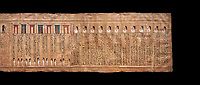 Ancient Egyptian Book of the Dead papyrus - From  tomb of Kha, Theban Tomb 8 , mid-18th dynasty (1550 to 1292 BC), Turin Egyptian Museum. Black background