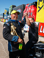 Apr 23, 2017; Baytown, TX, USA; NHRA pro stock driver Bo Butner celebrates with crew after winning the Springnationals at Royal Purple Raceway. Mandatory Credit: Mark J. Rebilas-USA TODAY Sports