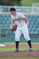 Kannapolis Intimidators starting pitcher Drew Harrington (13) looks to his catcher for the sign against the West Virginia Power at Kannapolis Intimidators Stadium on July 25, 2018 in Kannapolis, North Carolina. The Intimidators defeated the Power 6-2 in 8 innings in game one of a double-header. (Brian Westerholt/Four Seam Images)