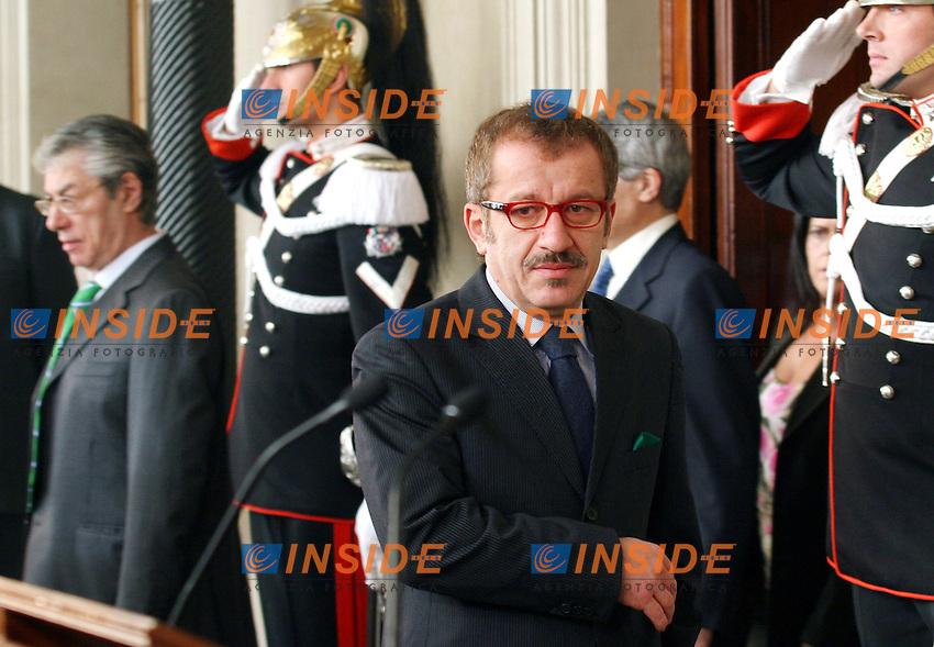 Roma 28-01-2008 Quirinale: Terzo giorno di Consultazioni con il presidente della Repubblica .Nella foto Roberto Maroni Lega Nord.Photo Serena Cremaschi Insidefoto