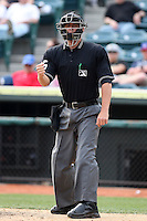 April 10, 2010:  Home Plate Umpire David Soucy makes a call during a game at Blair County Ballpark in Altoona, PA.  Photo By Mike Janes/Four Seam Images