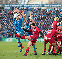 12th January 2020; RDS Arena, Dublin, Leinster, Ireland; Heineken Champions Champions Cup Rugby, Leinster versus Lyon Olympique Universitaire; Sam Hidalgo-Clyne (Lyon) box kicks from the back of a maul, under pressure - Editorial Use