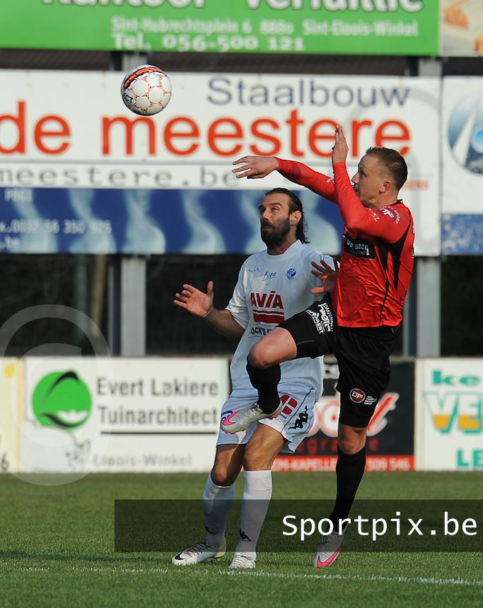 Sint-Eloois-Winkel Sport - SV Temse :<br /> <br /> Daan Van Gijseghem (R) klimt hoger dan Stavros Glouftsis (L)<br /> <br /> foto VDB / BART VANDENBROUCKE
