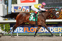 Grace Hall with jockey Javier Castellano winning the Gulfstream Oaks (G2). Gulfstream Park Hallandale Beach Florida. 03-31-2012. Arron Haggart/Eclipse Sportswire
