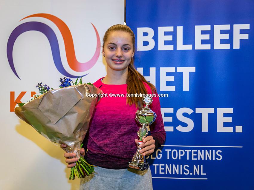 Wateringen, The Netherlands, December 1,  2019, De Rhijenhof , NOJK 12 and16 years, Runner up girls 16 years: Florentine Dekkers (NED) with the trophy<br /> Photo: www.tennisimages.com/Henk Koster