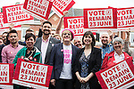 © Joel Goodman - 07973 332324 . 10/06/2016 . Manchester , UK . Comedian EDDIE IZZARD door knocking with activists in Hulme , Manchester , in support of the Remain campaign , ahead of the UK's EU Referendum . Photo credit : Joel Goodman