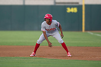 AZL Reds shortstop Urwin Juaquin (2) takes his lead off of first base against the AZL Athletics on July 16, 2017 at Lew Wolff Training Complex in Mesa, Arizona. AZL Athletics defeated the AZL Reds 13-5. (Zachary Lucy/Four Seam Images)