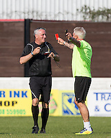 Wayne Lineker shows the Referee a red card in a bid to move the game along during the 'Greatest Show on Turf' Celebrity Event - Once in a Blue Moon Events at the London Borough of Barking and Dagenham Stadium, London, England on 8 May 2016. Photo by Andy Rowland.