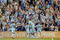 Sporting KC players celebrate C.J Sapong's goal...Sporting KC defeated San Jose Earthquakes 1-0 at LIVESTRONG Sporting Park, Kansas City ,Kansas,..