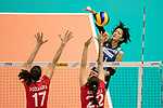 Wing spiker Yurie Nabeya of Japan (R) spikes the ball during the FIVB Volleyball World Grand Prix match between Japan vs Russia on 23 July 2017 in Hong Kong, China. Photo by Marcio Rodrigo Machado / Power Sport Images