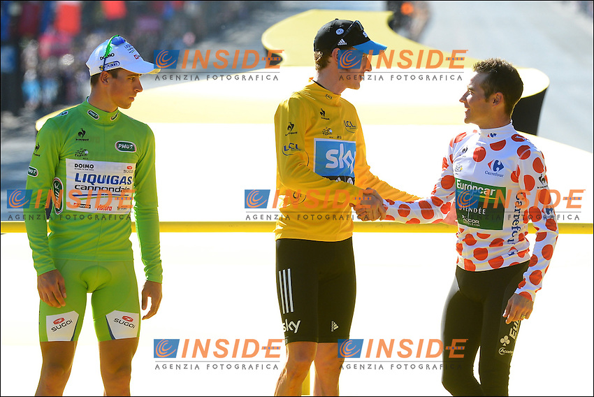 Peter Sagan (Svk) of Liquigas Cannondale Team - Bradley Wiggins (GBr) of Sky Procycling Team - Thomas Voeckler (Fra) of Team Europcar .Foto Insideofoto / Kalut - De Voecht / Photo News / Panoramic.ITALY ONLY