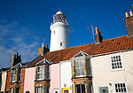 Lighthouse and cottages, Southwold, Suffolk, England