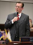 Nevada Sen. Ben Kieckhefer, R-Reno, speaks on the Senate floor at the Legislative Building in Carson City, Nev., on Wednesday, April 17, 2013. .Photo by Cathleen Allison