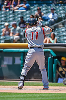 Kyle Parker (11) of the Albuquerque Isotopes at bat against the Salt Lake Bees in Pacific Coast League action at Smith's Ballpark on June 28, 2015 in Salt Lake City, Utah. The Isotopes defeated the Bees 8-3. (Stephen Smith/Four Seam Images)