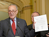 United States Senate Minority Leader Chuck Schumer (Democrat of New York) holds-up a letter signed by ten governors, five Democratic and five Republican, against the passage of the Graham-Cassidy Act that would replace parts of the Affordable Care Act (also known as ObamaCare) with block grants for the individual states as he speaks to reporters outside the US Senate Chamber following the Democrats' weekly luncheon caucus in the US Capitol in Washington, DC on Tuesday, September 19, 2017.  <br /> Credit: Ron Sachs / CNP