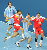 18.01.2013 Barcelona, Spain. IHF men's world championship, prelimanary round. Picture show  Abdelhak Ben Salah   in action during game between Arnetina vs Tunisia at Palau St Jordi