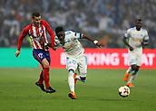 16th May 2018, Stade de Lyon, Lyon, France; Europa League football final, Marseille versus Atletico Madrid; Bouna Sarr of Marseille breaks away from Lucas Hernandez of Atletico Madrid