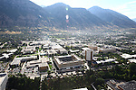 1309-22 0390<br /> <br /> 1309-22 BYU Campus Aerials<br /> <br /> Brigham Young University Campus West looking East, Provo, Sunrise, Y Mountain,  Kimball Tower SWKT, Joseph F. Smith Building JFSB, Talmage Building TMCB, Benson Building BNSN, Joseph Smith Building JSB, Brimhall Building BMRB, Grant Building HGB, Eyring Science Center ESC, Tanner Building TNRB, Smith Fieldhouse SFH, Student Athlete Building SAB, Abraham Smoot Building ASB, Jesse Knight Building JKB, Lee Library HBLL, Museum of Art MOA, <br /> <br /> September 6, 2013<br /> <br /> Photo by Jaren Wilkey/BYU<br /> <br /> &copy; BYU PHOTO 2013<br /> All Rights Reserved<br /> photo@byu.edu  (801)422-7322